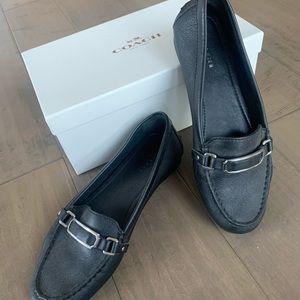 Coach Black Leather Flats- 7.5